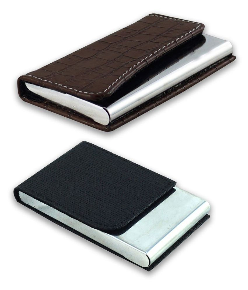 auteur A16-63  Multicolor Artificial Leather Professional Looking Visiting Card Holders for Men and Women Set of 2 (upto 10 cards Capacity)