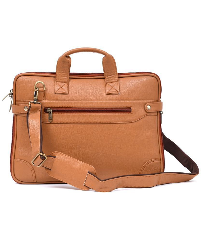LNL LEATHER NO LEATHER Tan Leather Office Bag