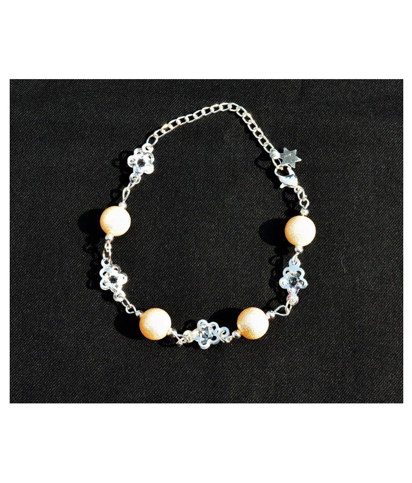 AsterriaCreation Alloy Cubic Zirconia Silver Charm Bracelet