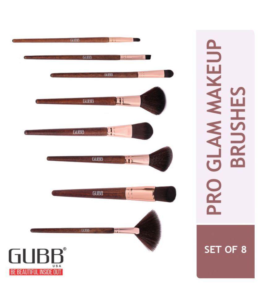 Gubb Pro Glam Kit - Fan, Blush, Powder, Foundation, Liner, Shadow, Lip & Buffer Synthetic Foundation Brush,Lip Brush,Blusher Brush 8 Pcs 200 g