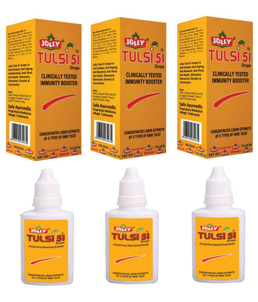 Jolly Pharma  Tulsi 51 Immunity Booster Drops  Liquid 72 ml Pack of 3
