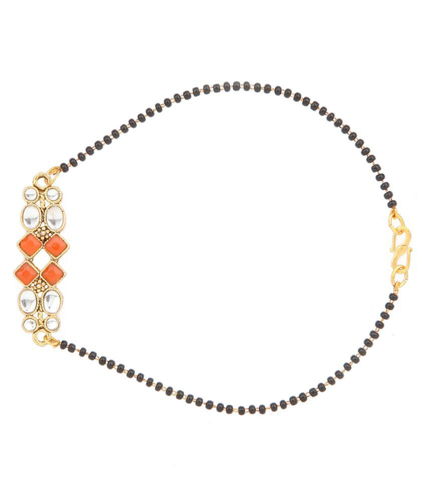 Kord Store Latest Design Bracelet Mangalsutra Red & White Kundan Stone Jewellery/Micro Gold Plated Black Beads Single Line Chain Wedding Jewelery For Modern Women+D15