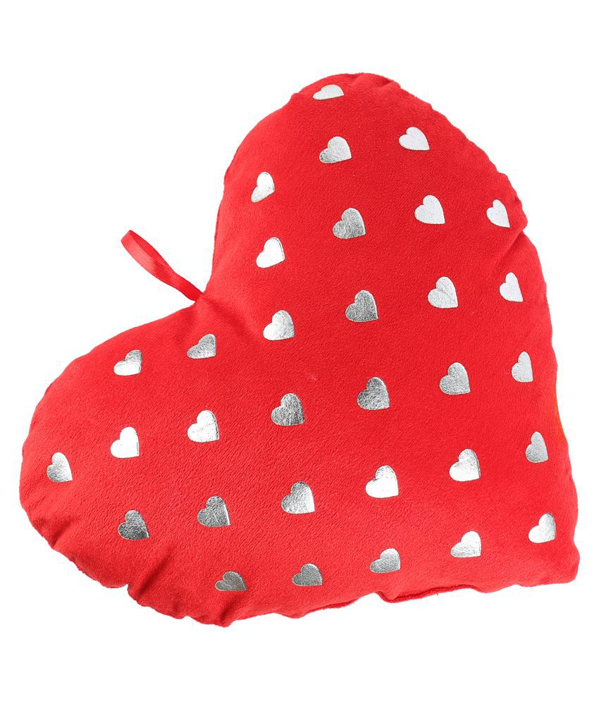 100% Polyester Heart Shape with Golden Heart Print Cushion