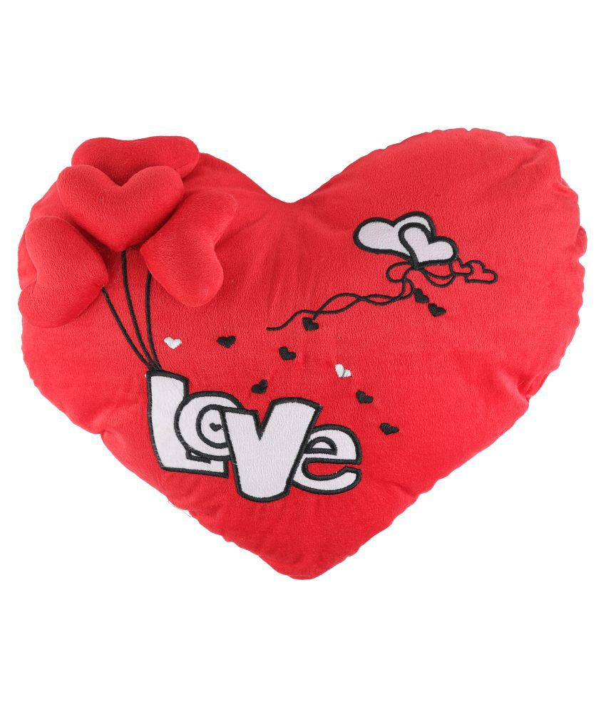 100% Polyester Heart Shape with Silver Heart Print Cushion