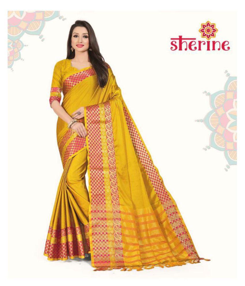 Sherine Yellow Silk Saree