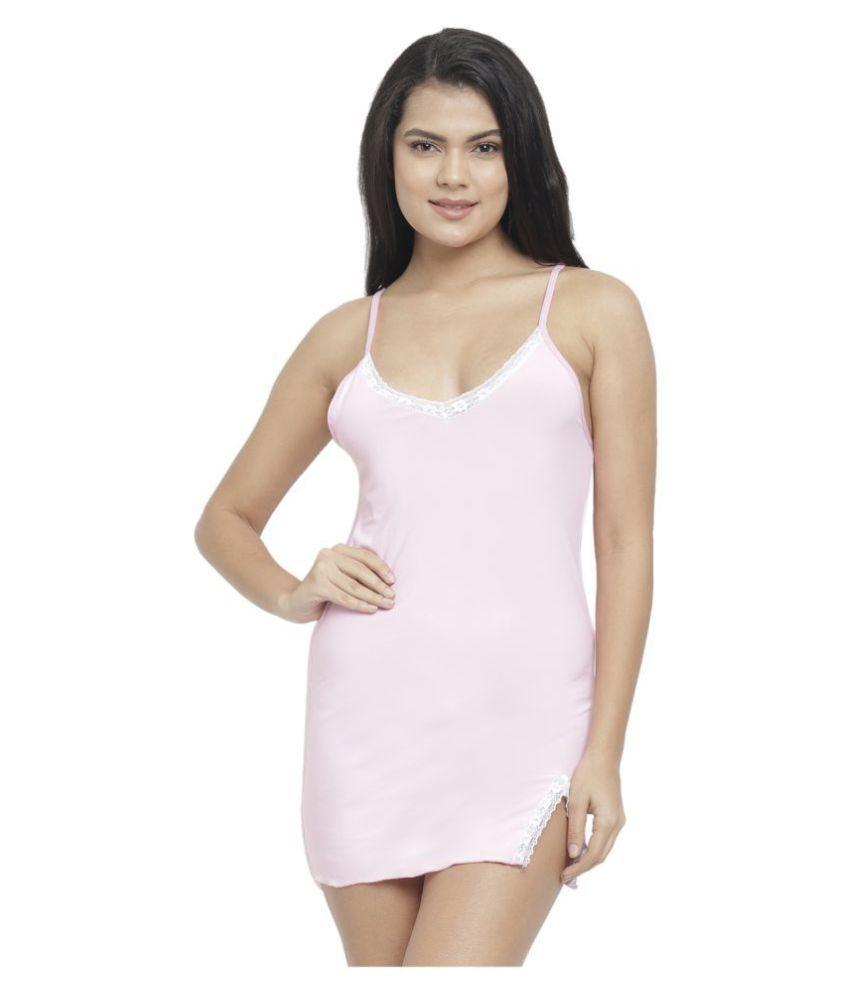 Avenew Fashions Polyester Night Dress - Pink