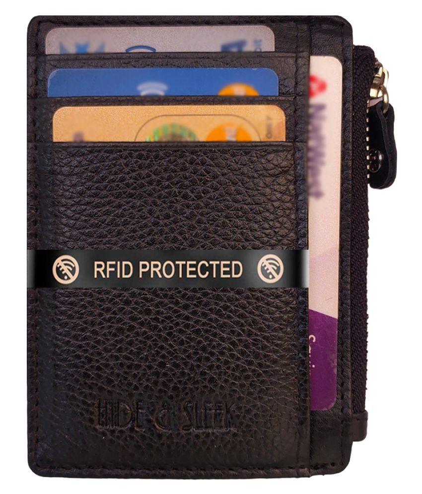 Hide&Sleek Zip Black Card Holder