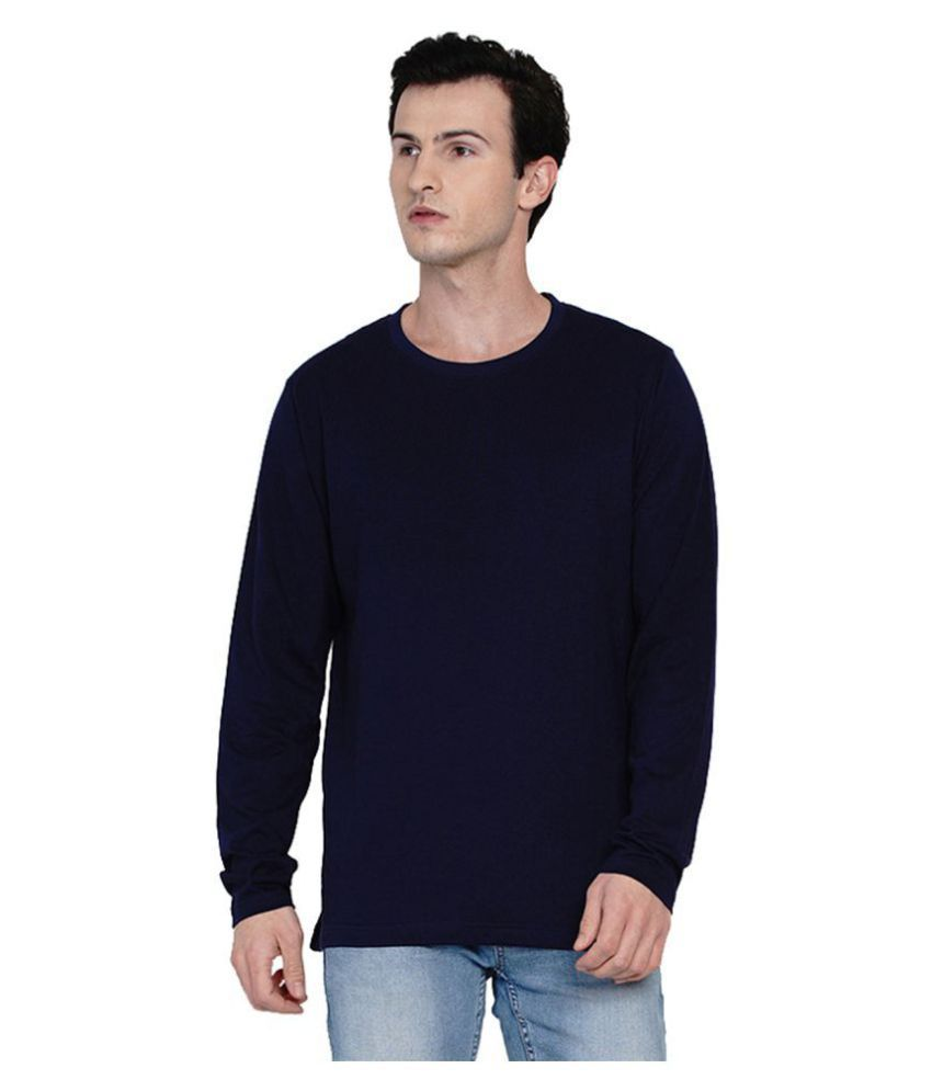 Knits and Weave 100 Percent Cotton Blue Solids T-Shirt