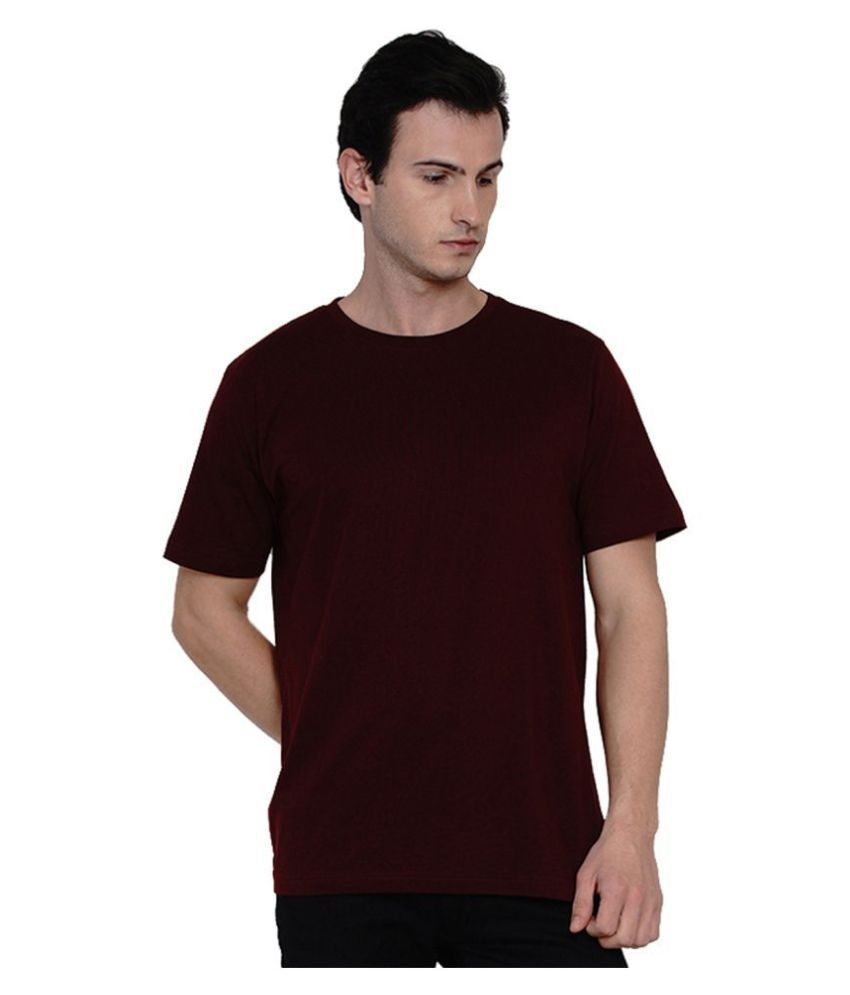 Knits and Weave 100 Percent Cotton Maroon Solids T-Shirt