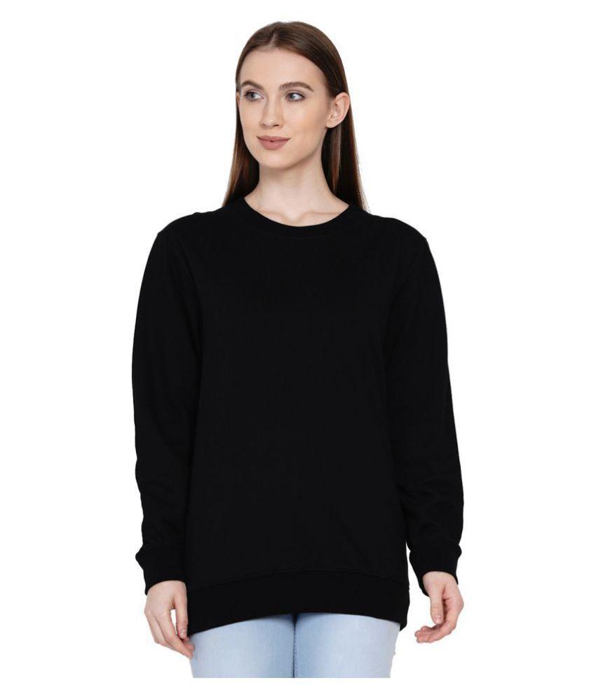 Knits and Weave Cotton - Fleece Black Non Hooded Sweatshirt
