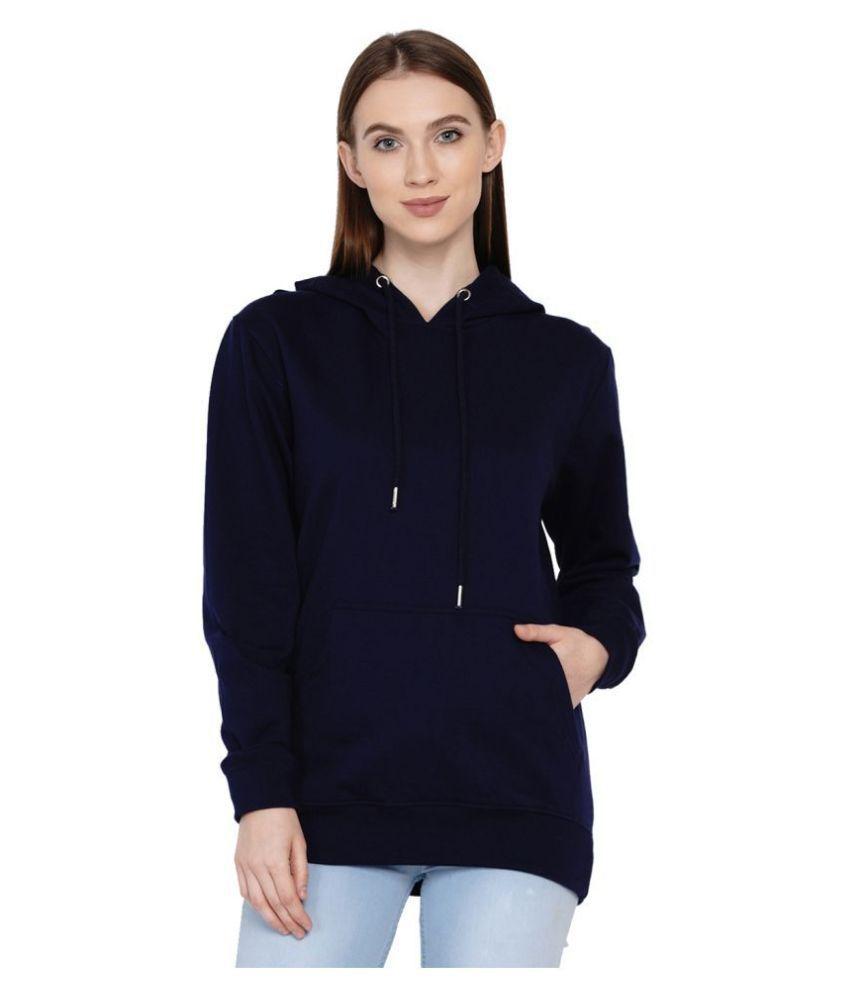 Knits and Weave Cotton - Fleece Navy Hooded Sweatshirt