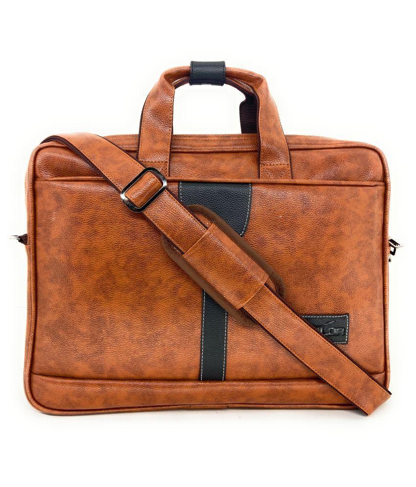 Midlor LaptopMessenger Bag Tan P.U. Office Bag