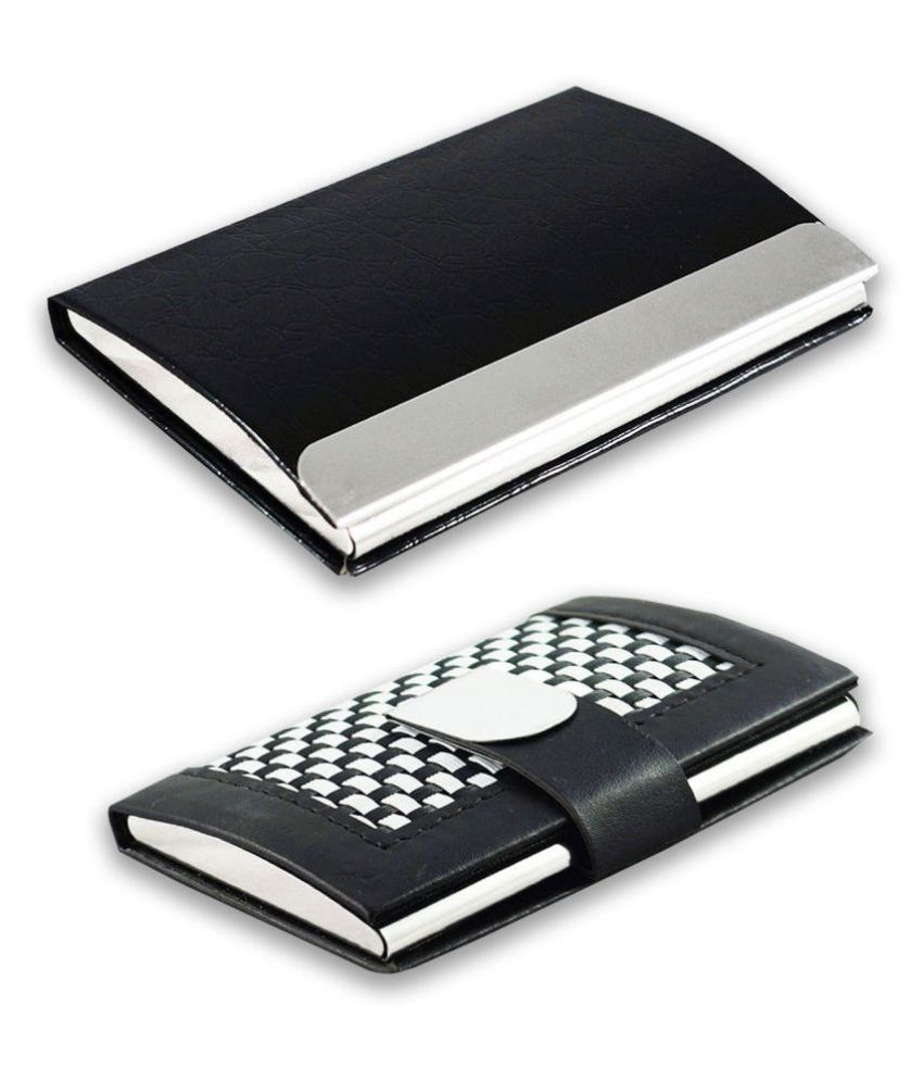 Multicolor Artificial Leather Professional Looking Debit/Credit/Business/Visiting Card Holders for Men and Women Set of 2 (upto 10 Cards Capacity)