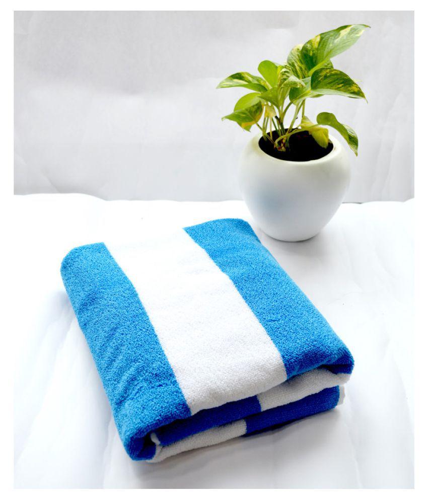 Tranquil Square Single Cotton Bath Towel Blue