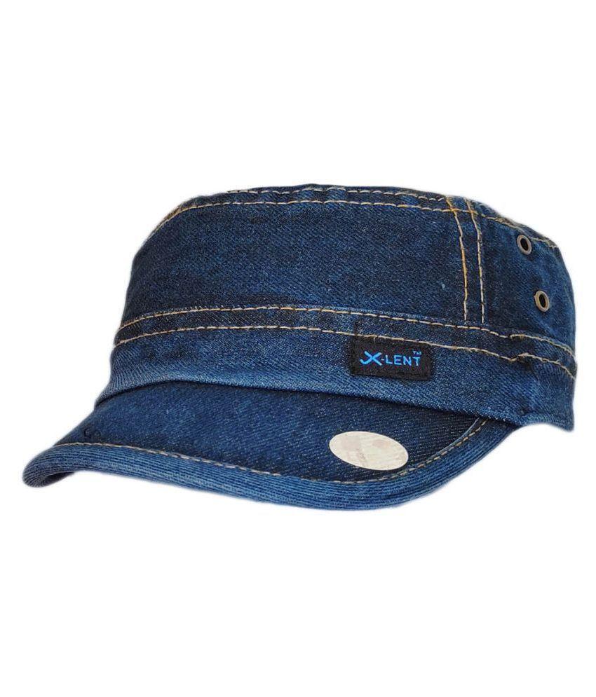 TyranT® Denim Unisex Cotton Adjustable & Free Size Quality Caps Hats for Men & Women Classic Cap {Classic} Short Brim Monkey Wash Denim Jeans Cap