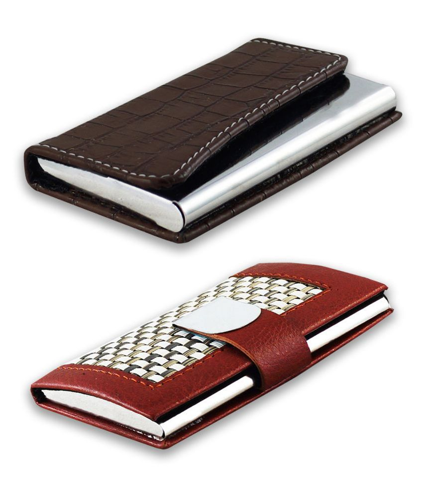auteur A16-32  Multicolor Artificial Leather Professional Looking Visiting Card Holders for Men and Women Set of 2 (upto 10 Cards Capacity)
