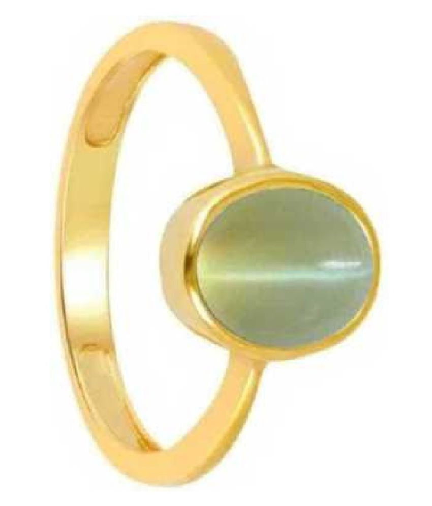 6 Ratti Gold Plated Original Cat's Eye Ring Lab Certified Stone by KUNDLI GEMS\n
