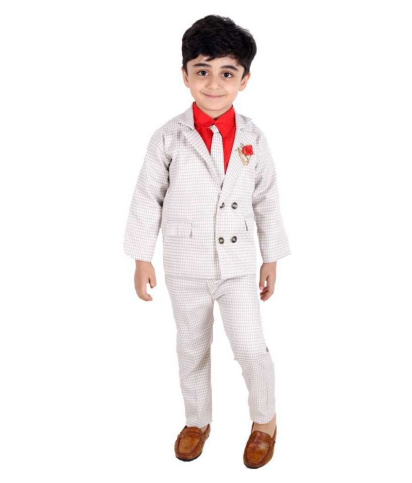 Fourfolds Ethnic Wear 3 Piece Suit Set with , Tie, Shirt, Trousers and Waistcoat for Kids and Boys_FC051