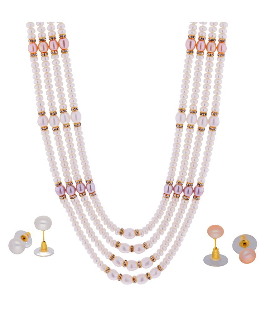 KNK JEWELLERY Alloy Pink Choker Designer Gold Plated Necklaces Set