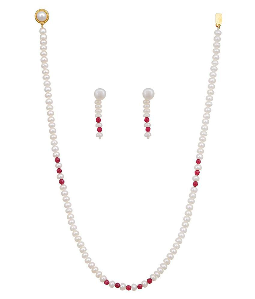 KNK JEWELLERY Alloy Red Choker Designer Gold Plated Necklaces Set
