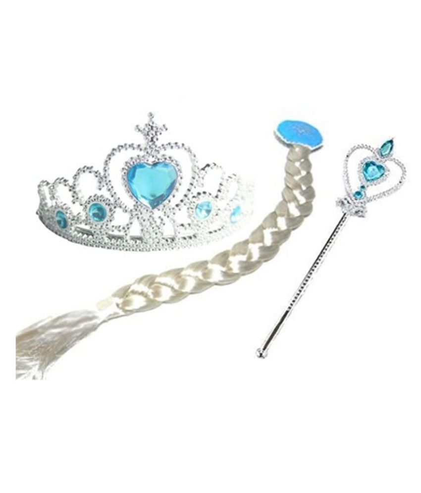 Kaku Fancy Dresses Fairy Tales Character Princes Elsa Costume Accessories -White-Silver, 3-10 Years, for Girls