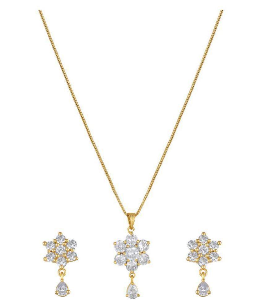 MFJ Fashion Dazzling Flower Design Brass Gold Plated AD Pendant Set For Women