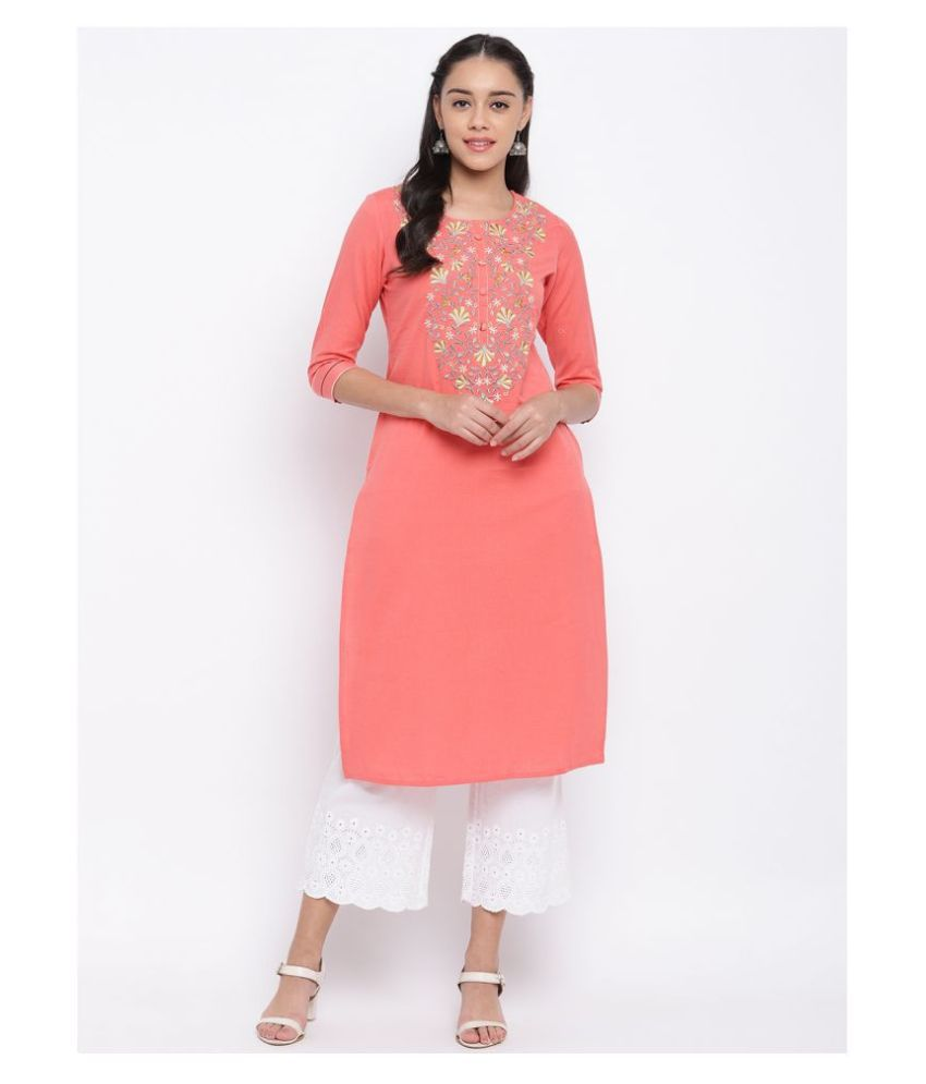 Vbuyz Peach Cotton Straight Kurti