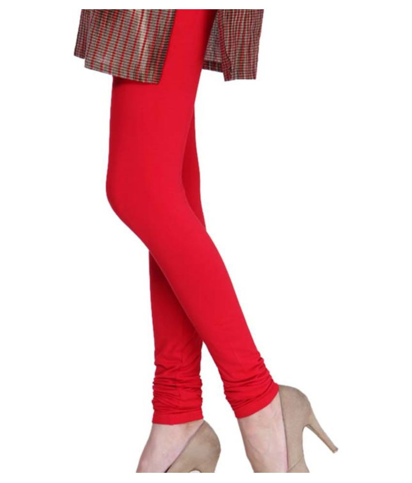 Femmora Cotton Lycra Tights - Red