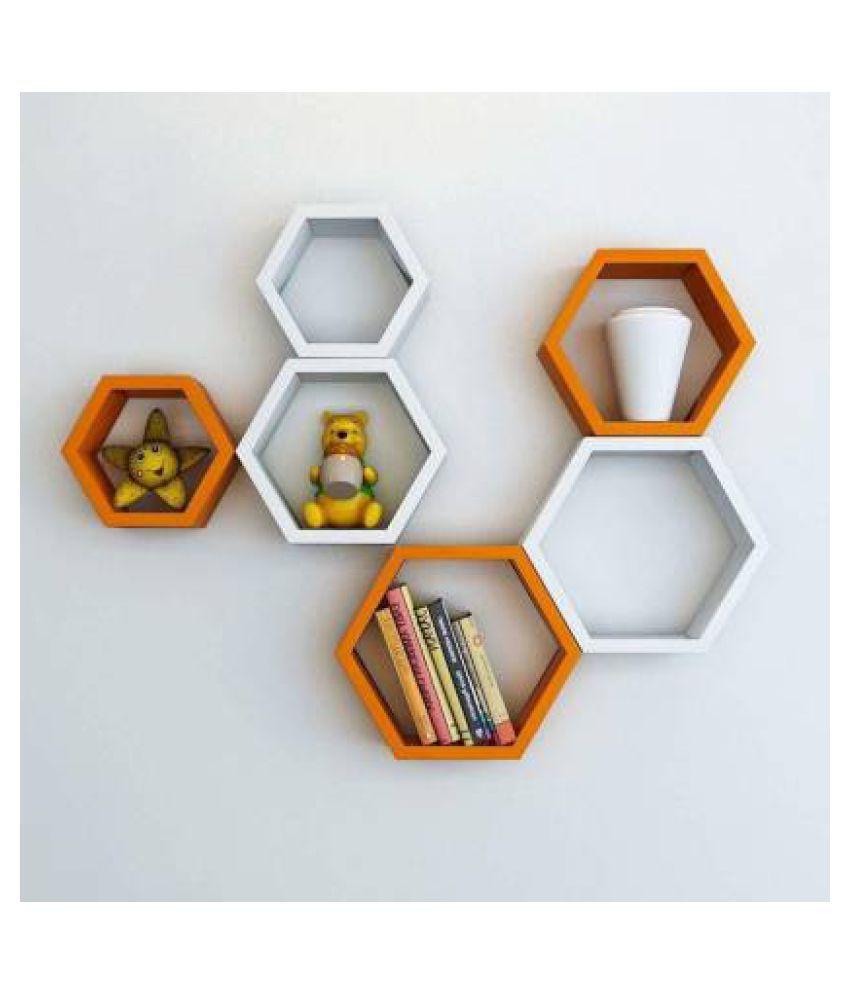 Sun Wood Art Wall Shelves for Living Room and Home Decor, Book Shelves Wooden Wall Shelf  (Number of Shelves - 6, Orange, White)