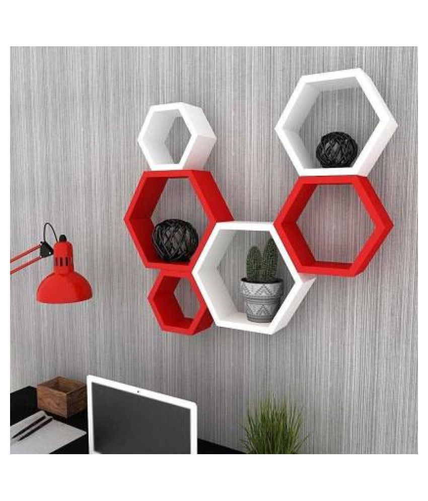 Sun Wood Art Wooden Hexagon Floating Wall Shelves for Living Room and Home Decor Wooden Wall Shelf  (Number of Shelves - 6, Red, White)