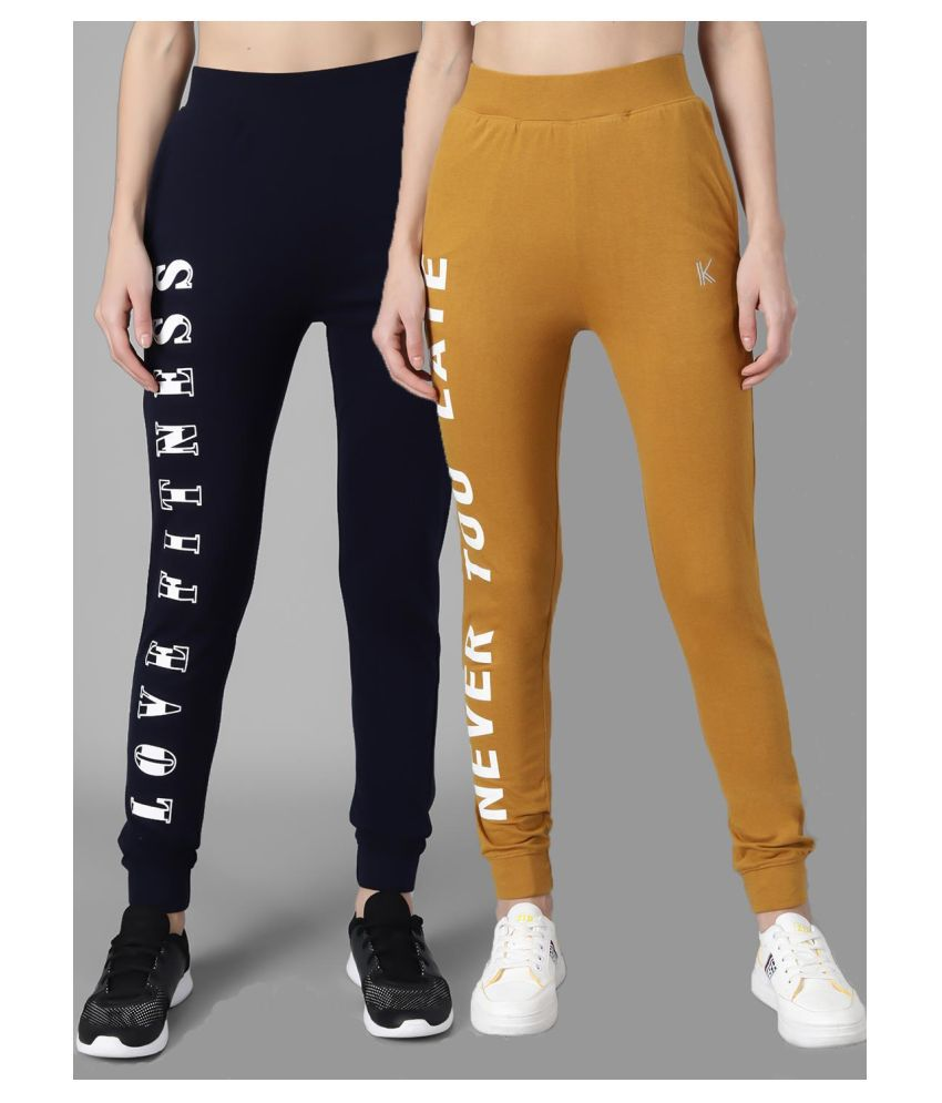 kotty Multi Color Poly Cotton Trackpants