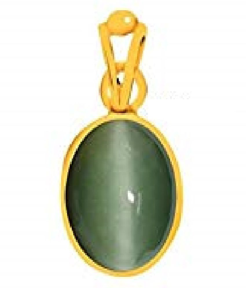 6.25 carat Cats eye Stone Pendant Natural Cats Eye stone Certified & Astrological purpose for men & women Gold Plated Cat's Eye Stone Pendant by RATAN BAZAAR