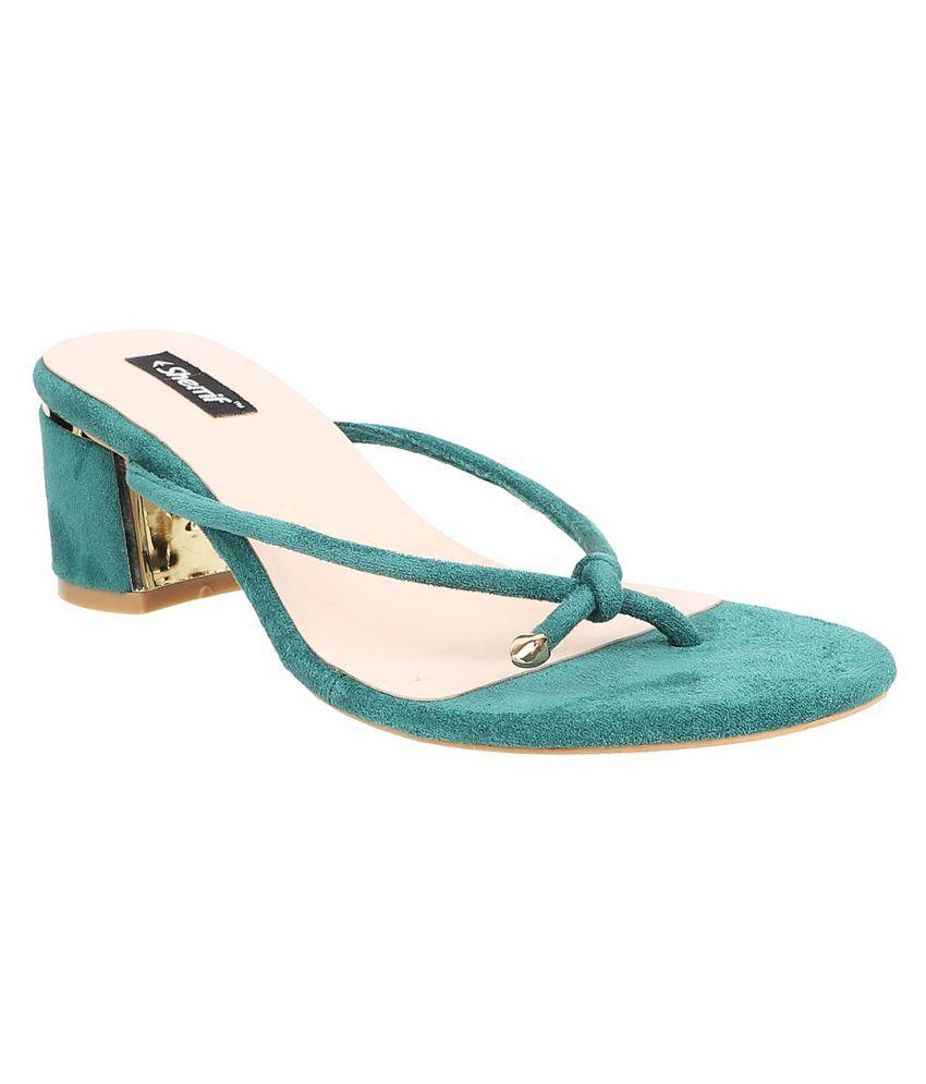 sherrif shoes Green Block Heels