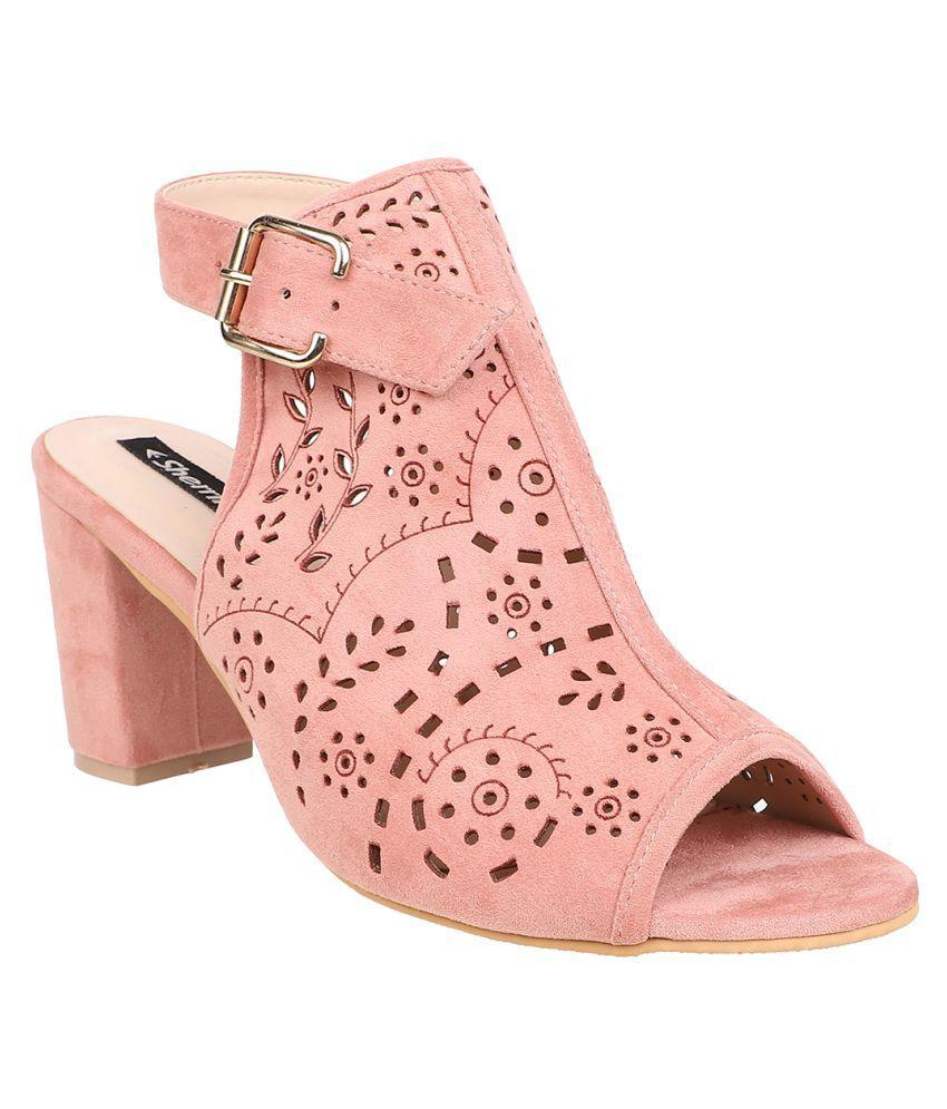 sherrif shoes Pink Block Heels