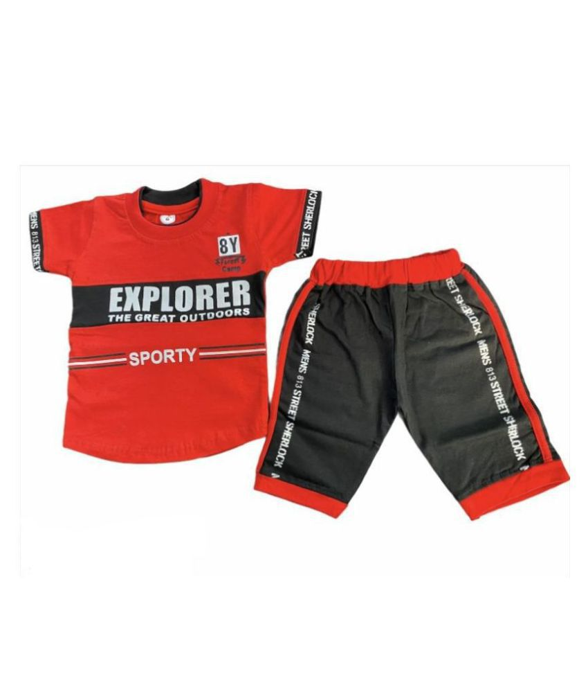 COT-n-TALES , Boys T-shirt with Three Fourth Pant