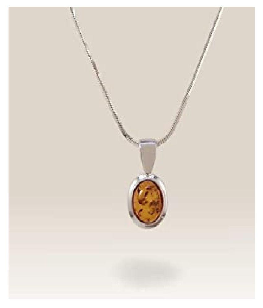 8 ratti Silver  Amber Pendant for unisex by  Ratan Bazaar\n