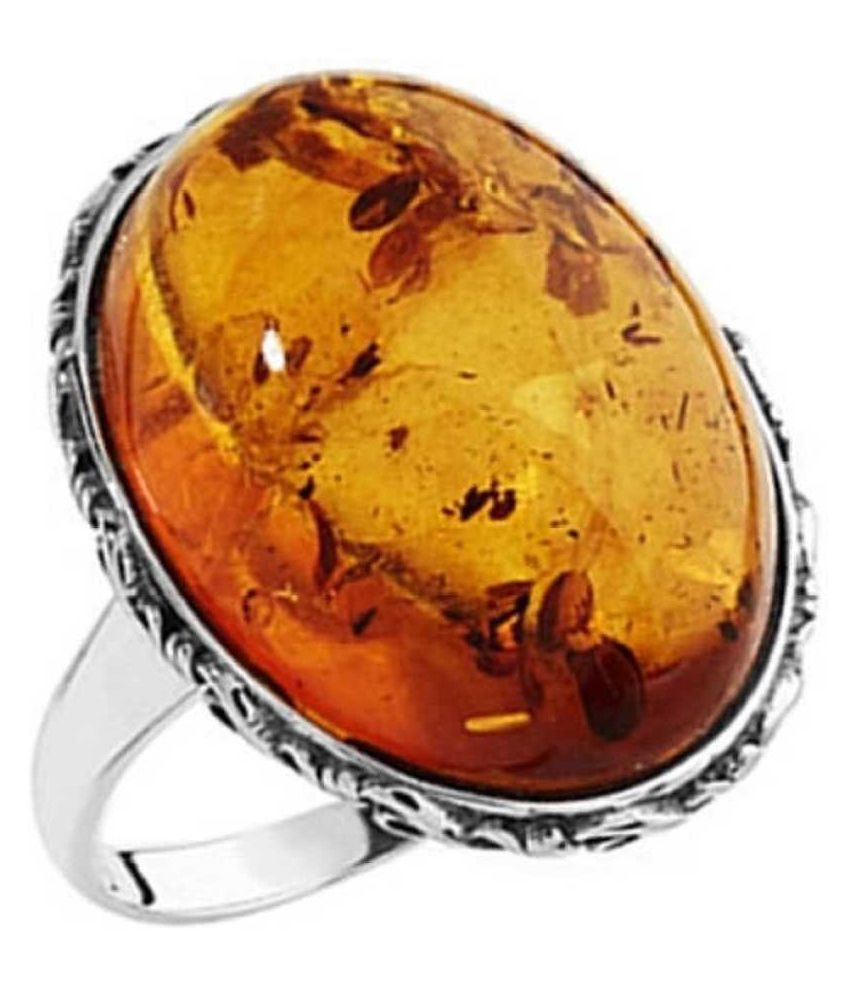 9.25 ratti Silver  Amber  RING(Anguthi) for unisex by  Ratan Bazaar\n