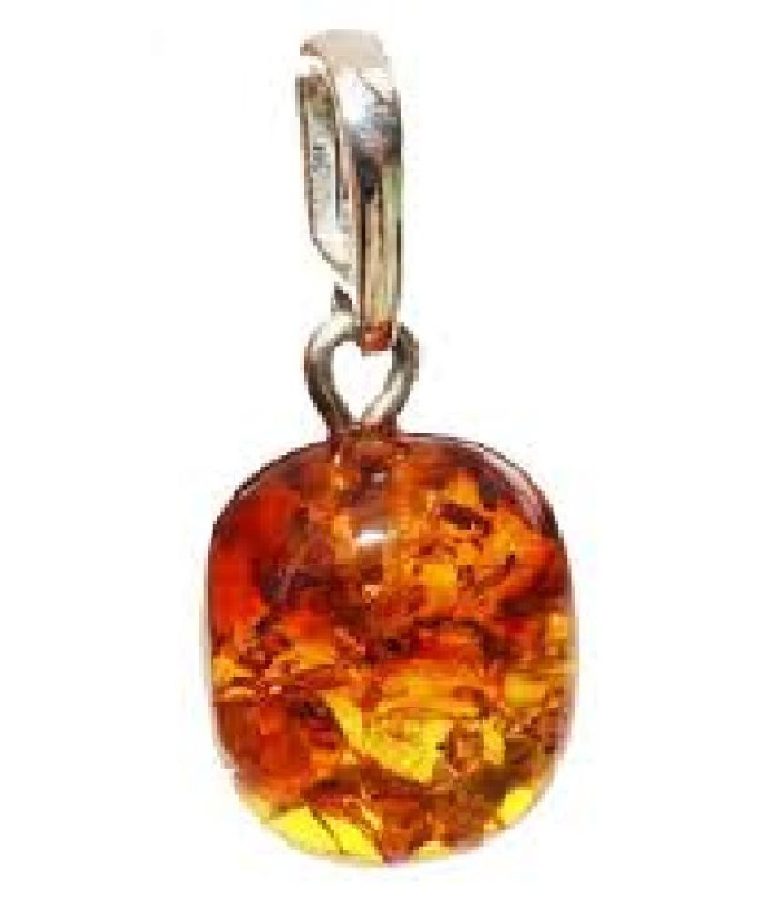 9 carat only Pendant with Natural Amber & Lab Certified silver Amber by Ratan Bazaar