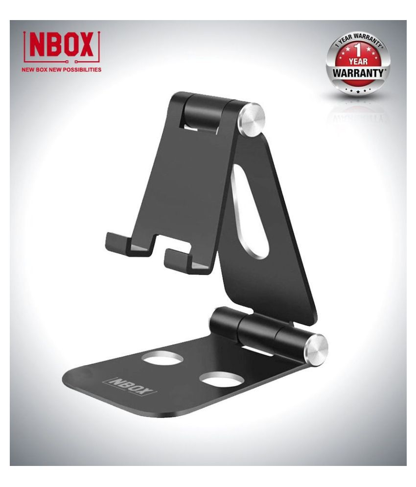 NBOX Anodized Aluminum Mobile Phone Adjustable Fold-able Holder Stand for All Tablet and Smartphones (Black)
