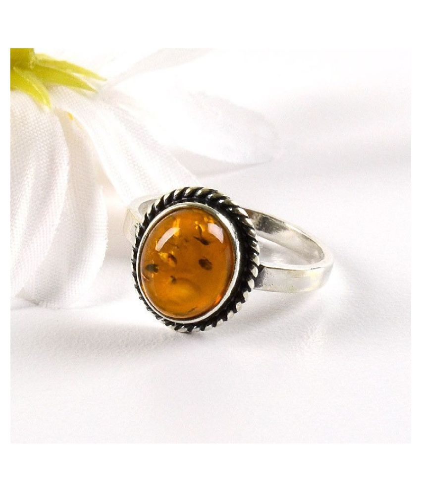 Natural Amber 9 Carat silver RING(Anguthi) by  Ratan Bazaar\n