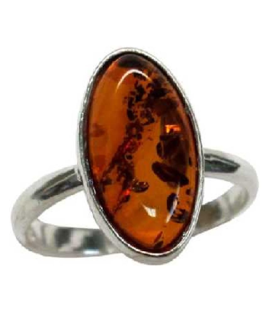 5.25 ratti Natural  Amber Stone silver RING(Anguthi)for Astrological Purpose  RING(Anguthi) by  KUNDLI GEMS