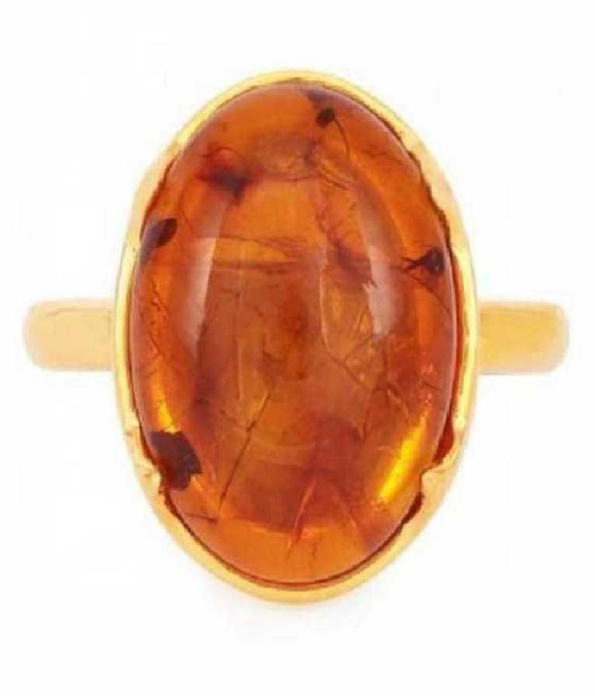 5 Carat Stone Amber GOLD PLATED RING(Anguthi) for unisex by  KUNDLI GEMS\n