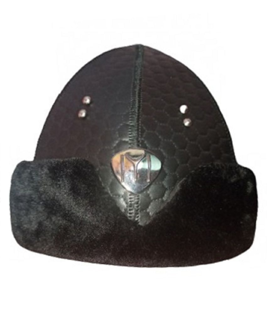 Ertugrul Ghazi Cap(Free Size) Black Embroidered Fabric Caps