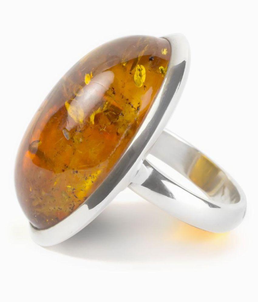 Amber RING(Anguthi)8.5 Ratti 100% Original Silver Amber Stone by   KUNDLI GEMS