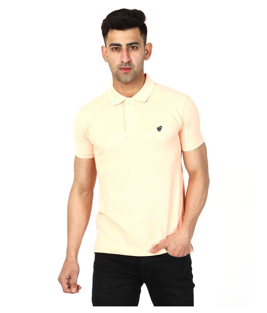 Aspire Cotton Blend PEACH Plain Polo T Shirt