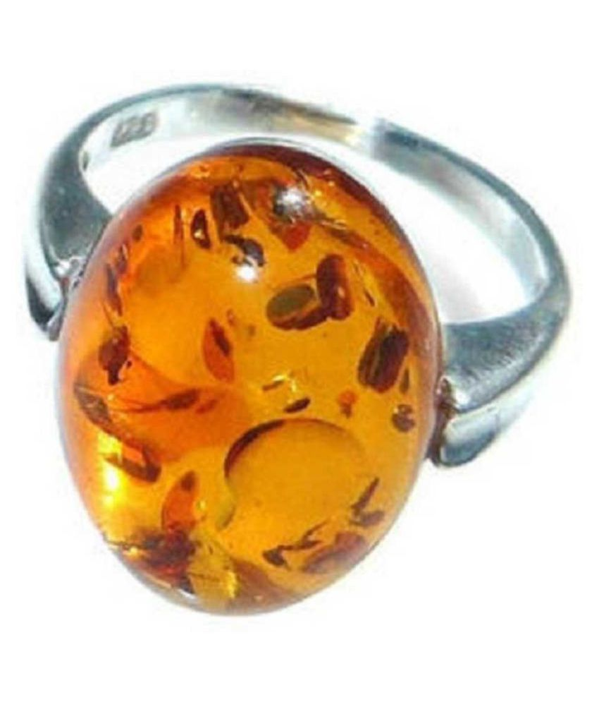 Natural Amber 9.25 Carat   silver RING(Anguthi) by  KUNDLI GEMS\n
