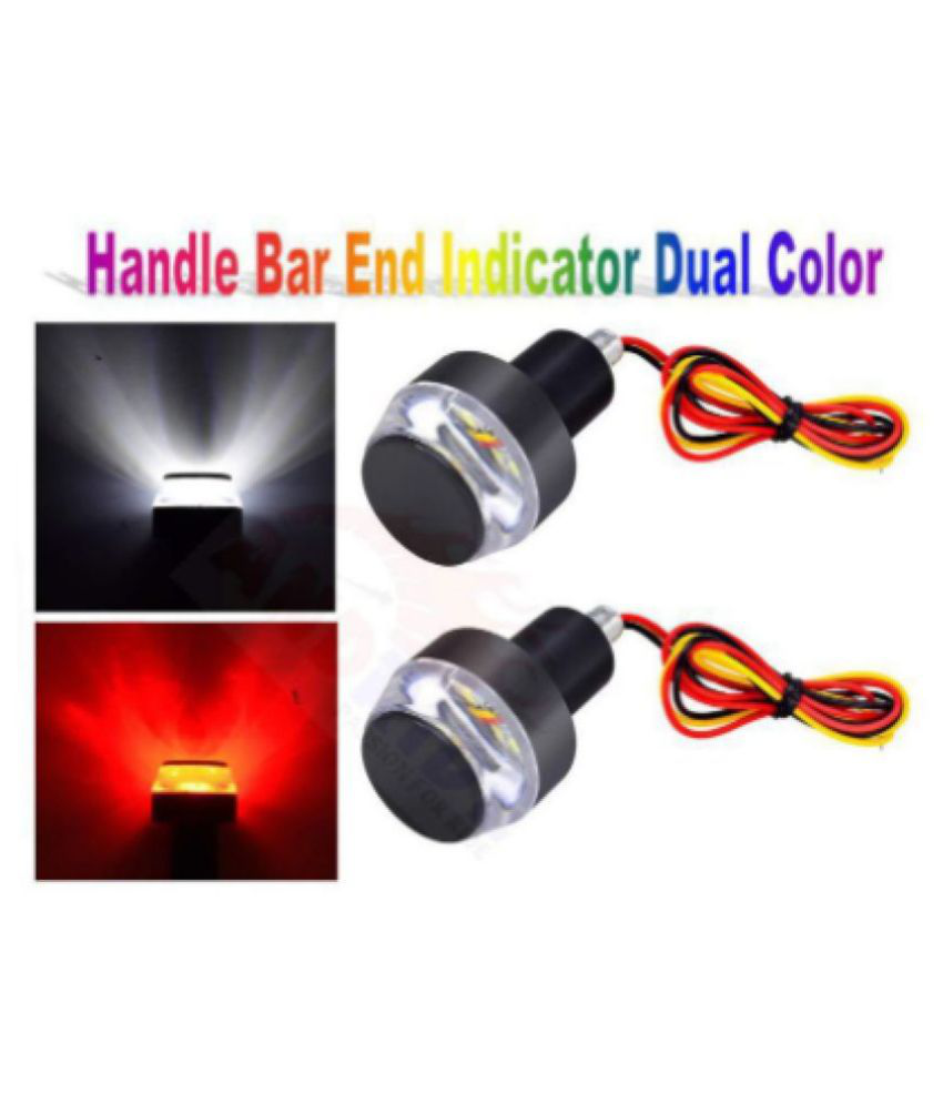 THE ONE CUSTOM DELHI DEALS Motorcycle Turn Signal LED Light Indicator Dual Color Bike Handle Bar End (Set of 2, Yellow & White)