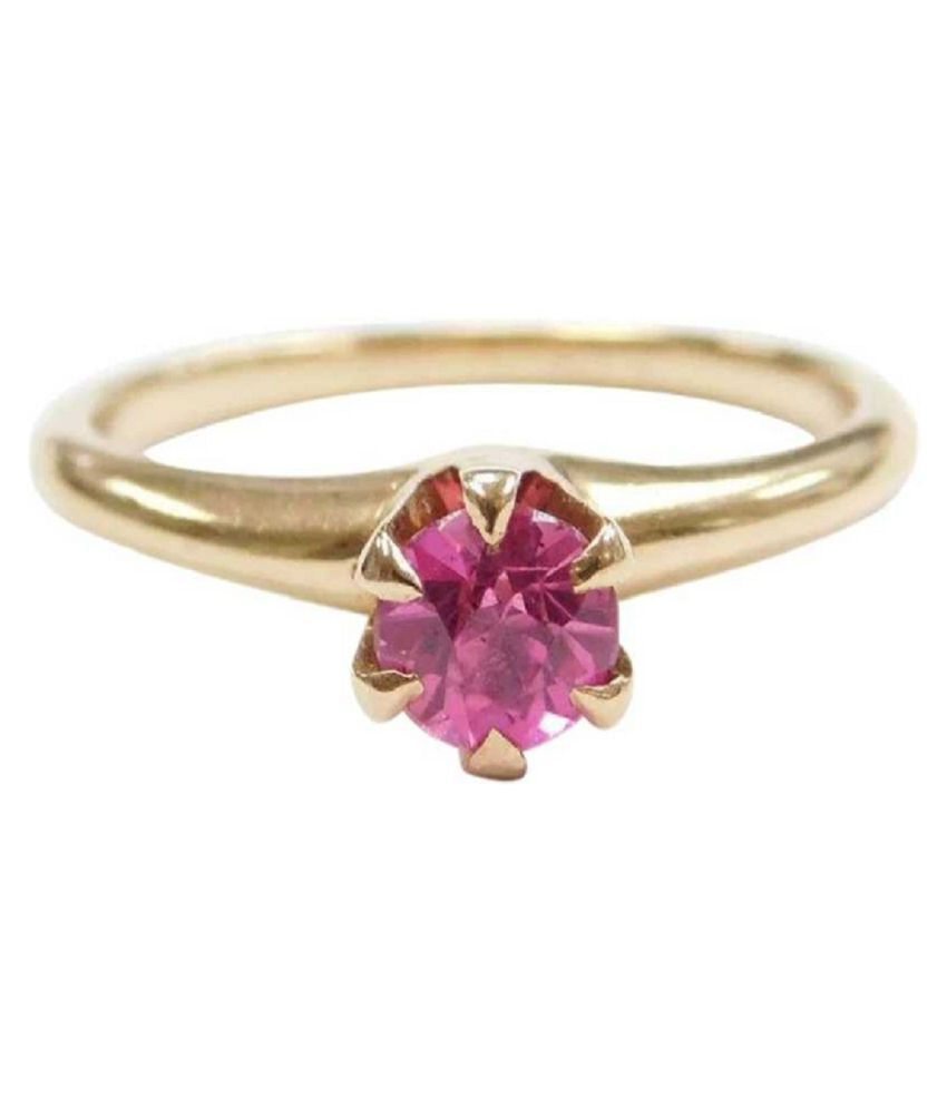 5 carat pure PINK SAPPHIRE Gold plated RING(ANGUTHI) for women by KUNDLI GEMS \n