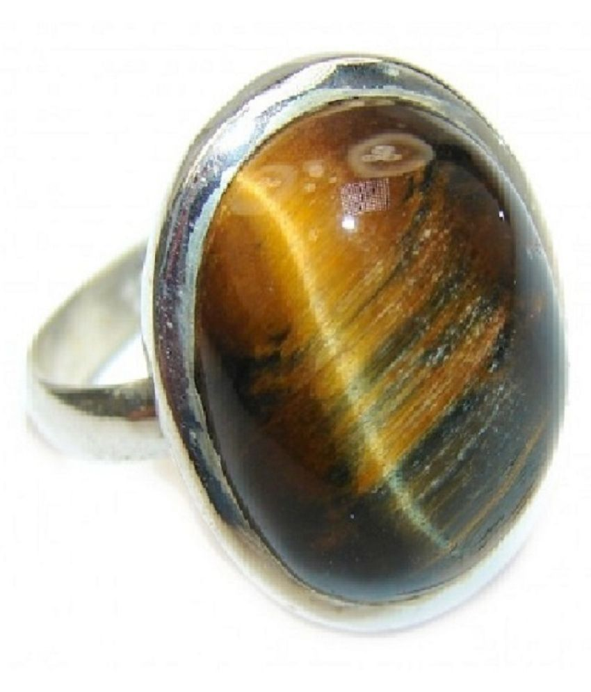 7 Ratti Lab Certified Stone 100% Original Tiger's Eye Silver  RING(Anguthi)for unisex by Ratan Bazaar\n