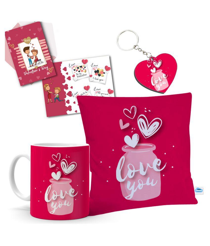 Festa Ceramic Valentine Hamper White - Pack of 4